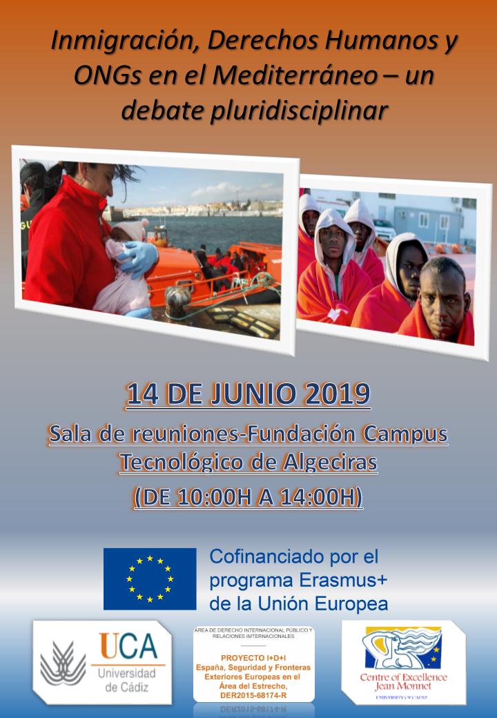 """El 14 de junio de 2019 se celebrarán las Jornadas """"Inmigración, Derechos Humanos y ONGs en el Mediterráneo – un debate pluridisciplinar""""."""
