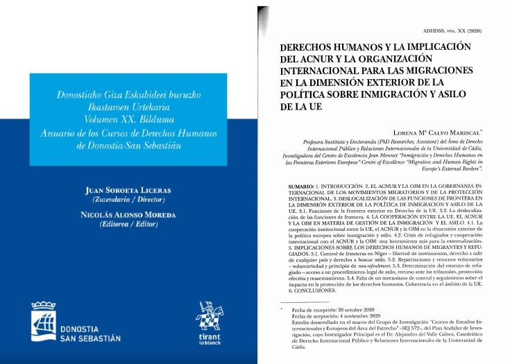 Publicación de la Profesora Lorena Calvo Mariscal sobre Derechos Humanos, Inmigración y Asilo en el Volumen XX del Anuario de los Cursos de Derechos Humanos de Donostia-San Sebastián.